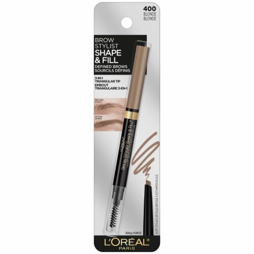L'Oreal Paris Brow Stylist Shape and Fill 400 Blonde Eyebrow Pencil Perspective: front