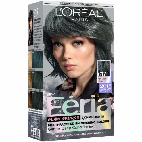 L'Oreal Paris Feria 617 Vintage Teal Hair Color Perspective: front