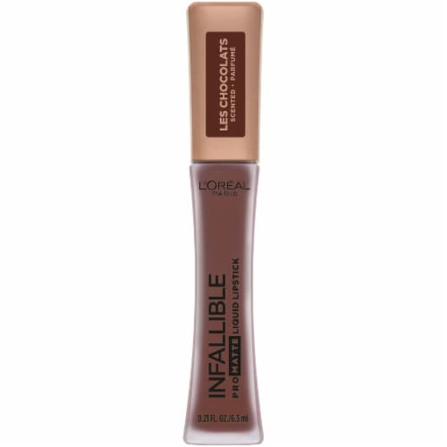 L'Oreal Paris Infallible Les Chocolats 70 Percent Yum Pro Matte Liquid Lipstick Perspective: front