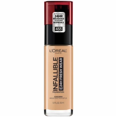 L'Oreal Paris Infallible Fresh Wear Natural Buff 455 Lightweight Foundation Perspective: front