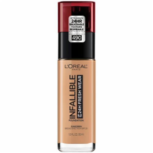 L'Oreal Paris Infallible 24 Hour Fresh Wear 490 Golden Amber Liquid Foundation Perspective: front