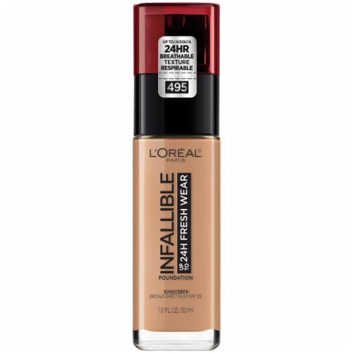 L'Oreal Paris Infallible 24-Hour Fresh Wear Lightweight Foundation - Amber 495 Perspective: front