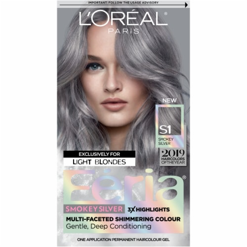 L'Oréal Paris Feria Multi-Faceted Shimmering Smokey Silver Permanent Hair Color Perspective: front