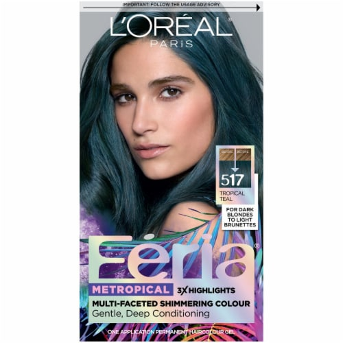 L'Oreal Paris Feria Metropical Tropical Teal Permanent Hair Color Perspective: front