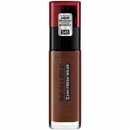 L'Oreal Infallible 24-Hour Fresh Wear 545 Ebony Liquid Foundation Perspective: front