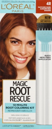 L'Oreal Paris Magic Root Rescue 4R Dark Auburn 10 Minute Root Hair Coloring Kit Perspective: front