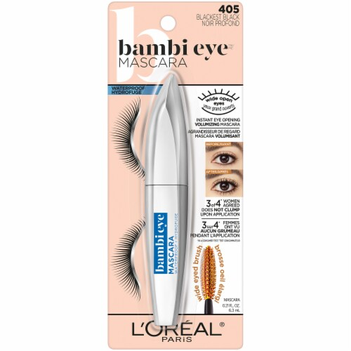 L'Oreal Bambi Eye 405 Blackest Black Waterproof Mascara Perspective: front