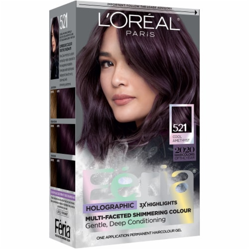 L'Oreal Paris Shimmering 521  Cool Amethyst Permanent Hair Color Kit Perspective: front