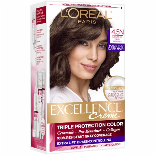 L'Oreal Paris Excellence Creme 4.5N Dark Neutral Brown Triple Protection Permanent Hair Color Kit Perspective: front