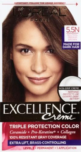 L'Oreal Paris Excellence Creme Triple Protection 5.5N Medium Neutral Brown Permanent Hair Color Kit Perspective: front