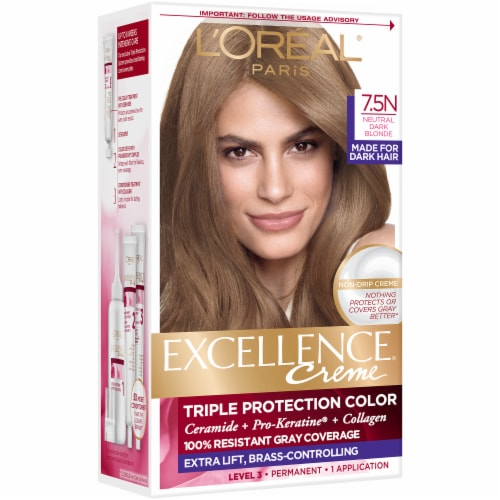 L'Oreal Paris Excellence Creme Triple Protection 7.5N Dark Neutral Blonde Permanent Hair Color Kit Perspective: front