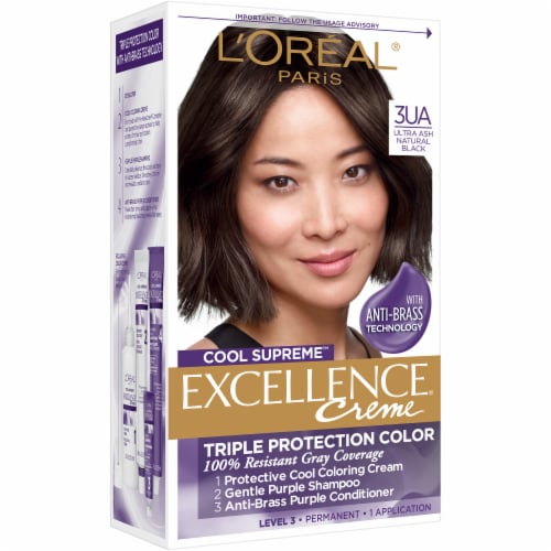 L'Oreal Paris Cool Supreme Excellence Creme 3UA Ultra Ash Natural Black Hair Color Perspective: front