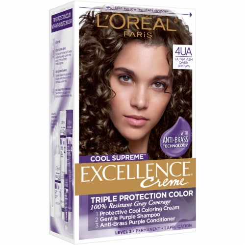 L'Oreal Paris Cool Supreme Excellence Creme 4UA Ultra Ash Dark Brown Permanent Hair Color Perspective: front