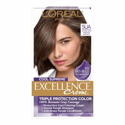 L'Oreal Paris Cool Supreme Excellence Creme 5UA Ultra Ash Medium Brown Permanent Hair Color Perspective: front