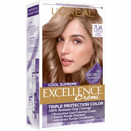L'Oreal Paris Cool Supreme Excellence Creme 7UA Ultra Ash Dark Blonde Permanent Hair Color Perspective: front