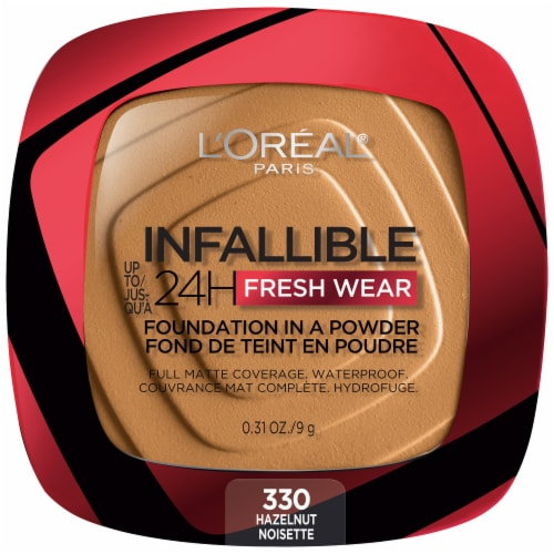 L'Oreal Paris Infallible Fresh Wear Hazelnut Powder Foundation Perspective: front