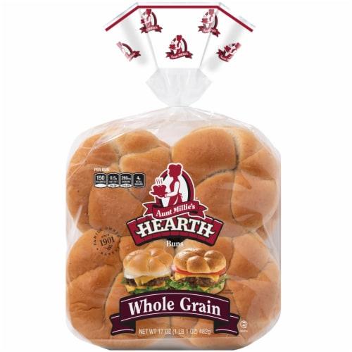 Aunt Millie's Hearth Whole Grain Hamburger Buns Perspective: front