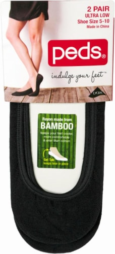Peds Women's Bamboo Ultra Low Liner Socks - 2 Pack - Black Perspective: front