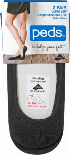 Peds Women's Ultra Low-Cut Liner Socks - 2 Pack - Black Perspective: front