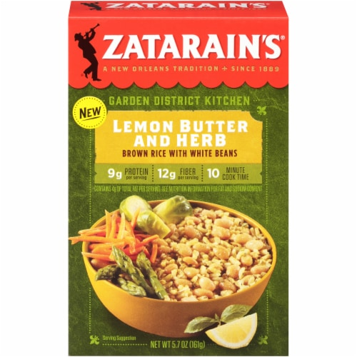 Zatarain's Garden District Kitchen Lemon Butter and Herb Brown Rice with White Beans Perspective: front