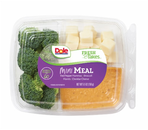 Dole Mini Meal-Red Pepper Hummus Snack Tray Perspective: front