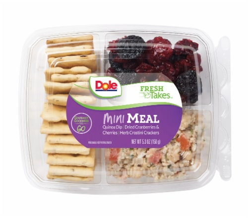 Dole Mini Meal-Quinoa Dip Snack Tray Perspective: front