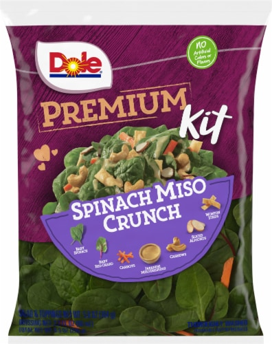 Dole Spinach Miso Crunch Premium Salad Kit Perspective: front