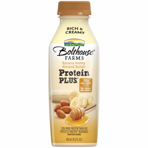 Bolthouse Farms Protein Plus Banana Honey Almond Butter Protein Shake Perspective: front