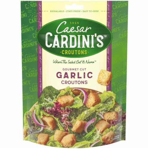 Cardini's Gourmet Cut Garlic Croutons Perspective: front