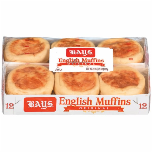 Bays Plain English Muffins 12 Count Perspective: front
