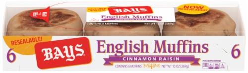 Bays Cinnamon Raisin English Muffins Perspective: front