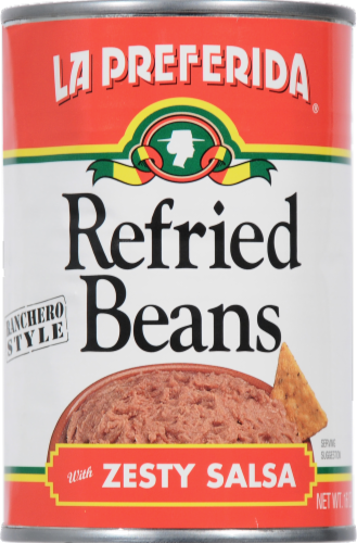 La Preferida Ranchero Style Refried Beans with Zesty Salsa Perspective: front