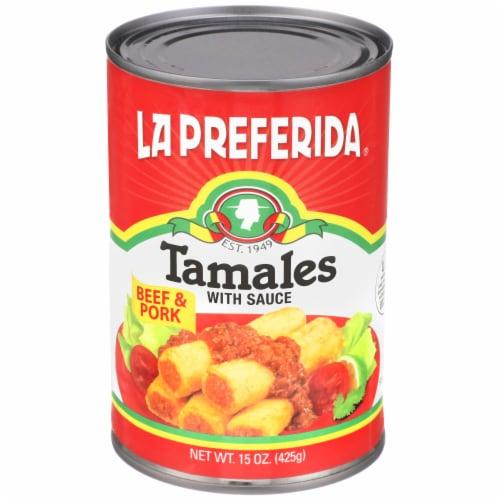 La Preferida Beef & Pork Tamales with Sauce Perspective: front