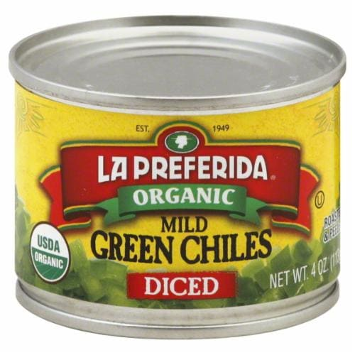 La Preferida Organic Diced Mild Green Chiles Perspective: front