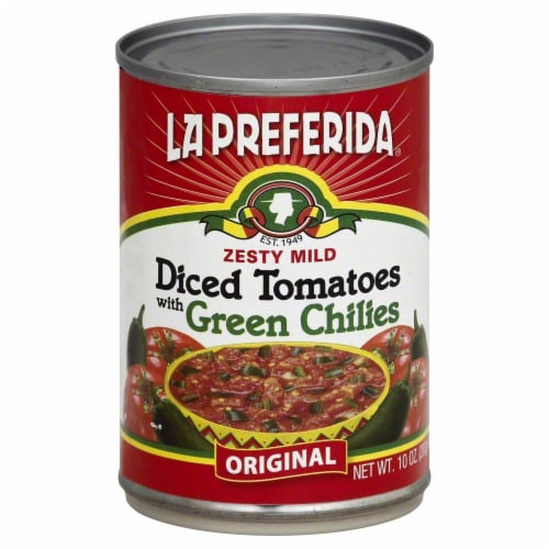 La Preferida Zesty Mild Diced Tomatoes with Green Chiles Perspective: front