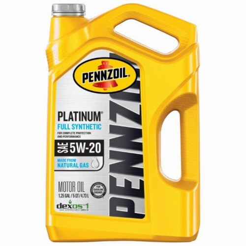 Pennzoil Platinum 5W-20 SAE Full Synthetic Motor Oil Perspective: front