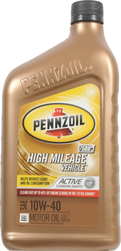 Pennzoil 10W-40 SAE High Mileage Vehicle Motor Oil Perspective: front