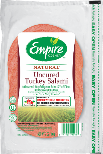 Empire Kosher Uncured Turkey Salami Lunch Meat Perspective: front