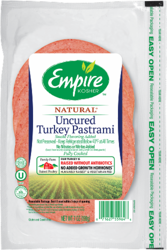 Empire Kosher Uncured Turkey Pastrami Lunch Meat Perspective: front