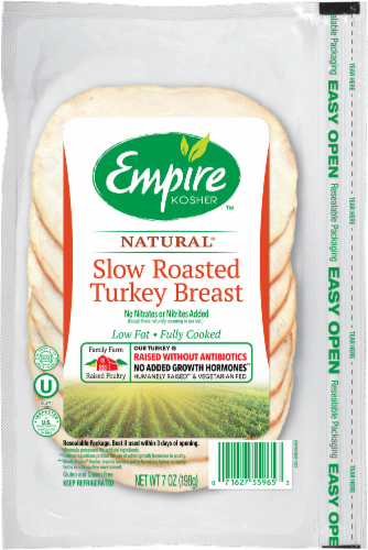 Empire Kosher Slow Roasted Turkey Breast Slices Lunch Meat Perspective: front