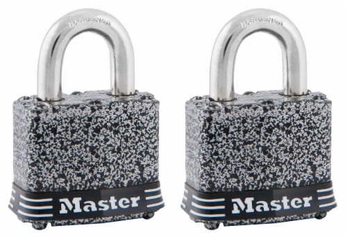 Master Lock Rustoleum Laminiated Padlock Set - Gray/Black/Silver Perspective: front
