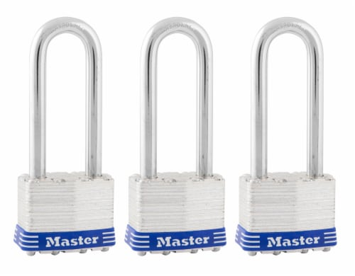 Master Lock 1.25 In Wide Laminated Steel Padlock with 2.5 In Shackle 3 Pack Perspective: front