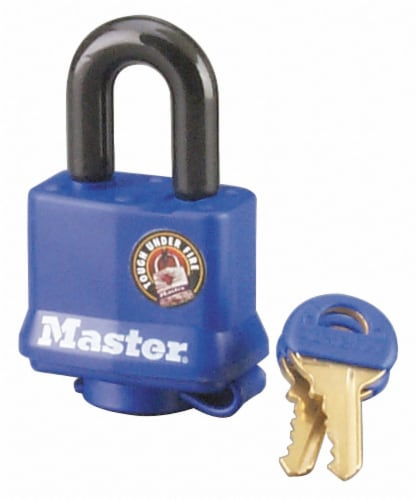 Master Lock Covered Laminated Padlock - Blue Perspective: front
