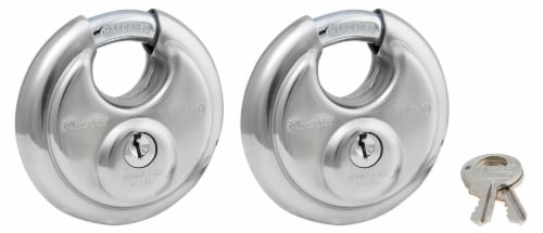Master Lock Shrouded Stainless Steel Disk Padlock - 2 Pack Perspective: front