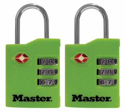 Master Lock® Vinyl Covered Steel 3-Dial Combination Locks Perspective: front