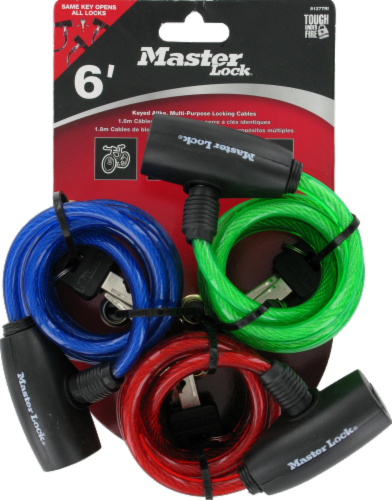 Master Lock Keyed Cable Lock - 3 Pack - Assorted Perspective: front