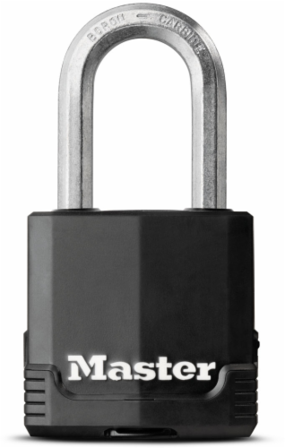 Master Lock Magnum® Covered Laminated Black & Silver Steel Lock Perspective: front
