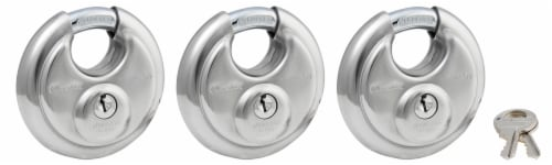 Master Lock Shrouded Stainless Steel Disk Padlock - 3 Pack Perspective: front