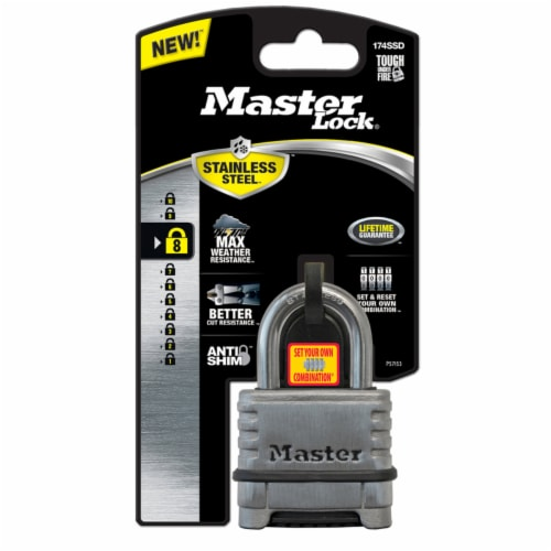 Master Lock 2.25 in. W Stainless Steel 4-Dial Combination Padlock - Case Of: 1; Perspective: front