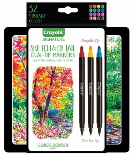 Crayola Signature Sketch and Detail Dual-Tip Markers Perspective: front